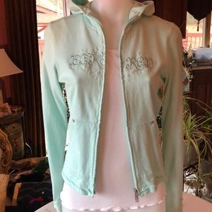 Eckō Red mint green zip front hoodie w back lacing